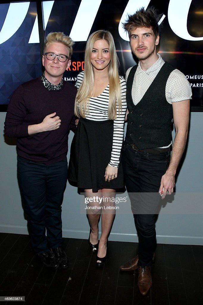 YouTube personalities Tyler Oakley, iJustine and Joey Graceffa attend Vanity Fair Campaign Hollywood Social Club - 'YouTube All Stars:' Social Media Influencers Panel Discussion on February 16, 2015 in Los Angeles, California.