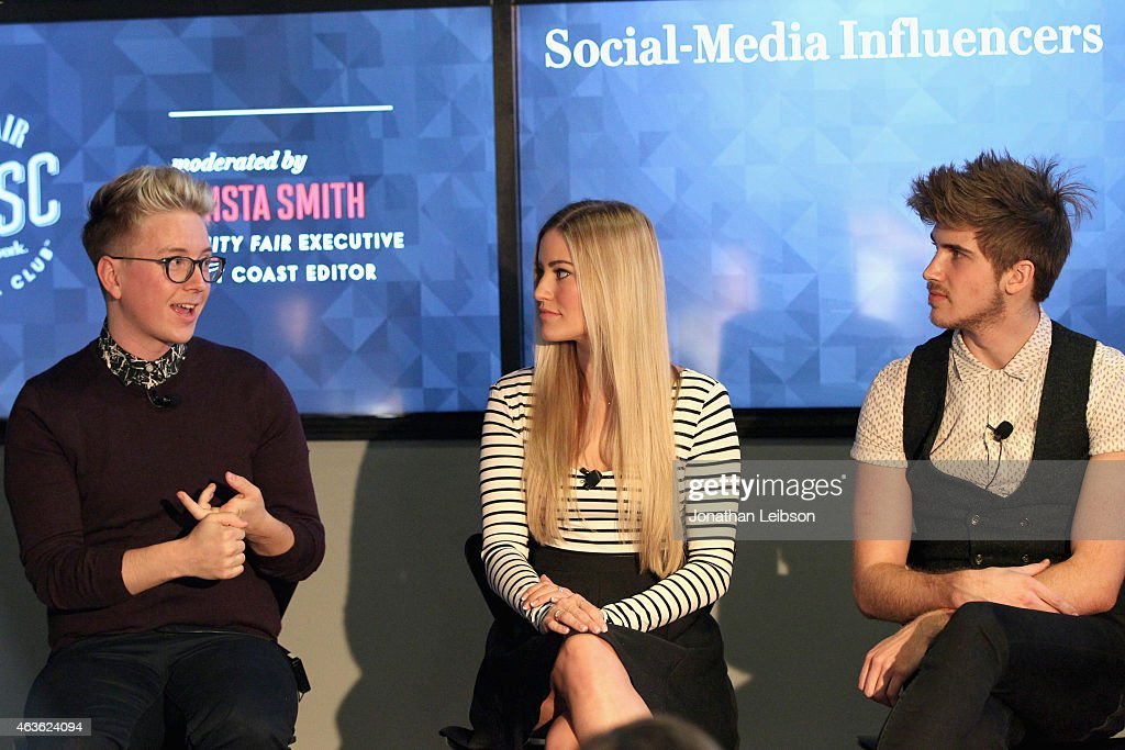 YouTube personalities Tyler Oakley, iJustine and Joey Graceffa speak onstage during Vanity Fair Campaign Hollywood Social Club - 'YouTube All Stars:' Social Media Influencers Panel Discussion on February 16, 2015 in Los Angeles, California.