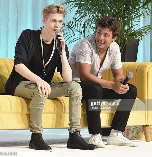 YouTube personality Aidan Alexander and makeup artist Alex Faction speak during panel at the 4th Annual Beautycon Festival Los Angeles at Los Angeles...