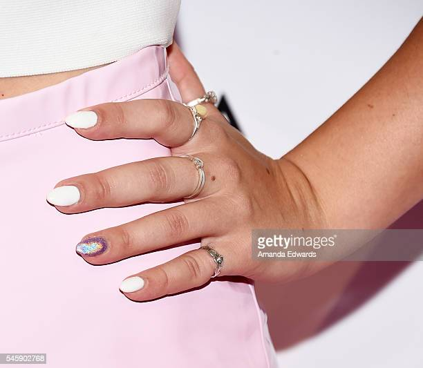 YouTube personality Alisha Marie manicure and ring detail arrives at the 4th Annual Beautycon Festival Los Angeles at the Los Angeles Convention...