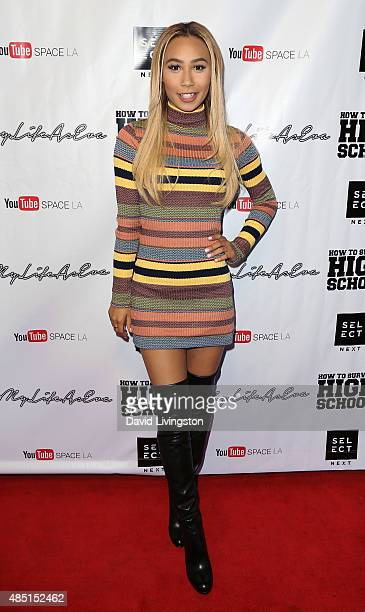 YouTube personality Eva Gutowski attends a screening of How to Survive High School at YouTube Space LA on August 24 2015 in Los Angeles California