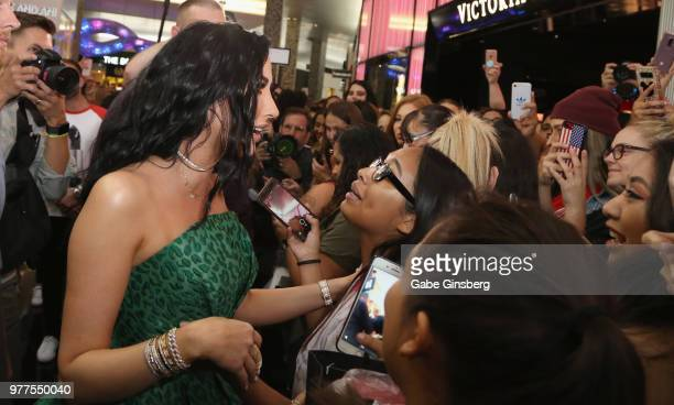 YouTube personality Jaclyn Hill greets fans during Morphe store opening at the Miracle Mile Shops at Planet Hollywood Resort Casino on June 16 2018...
