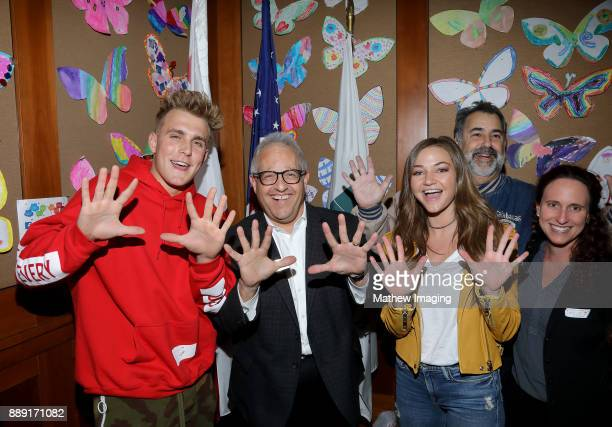 YouTube Personality Jake Paul and girlfriend Erika Costell attend the 4th Annual Solis Family Reading at the Calabasas Civic Center on December 6...