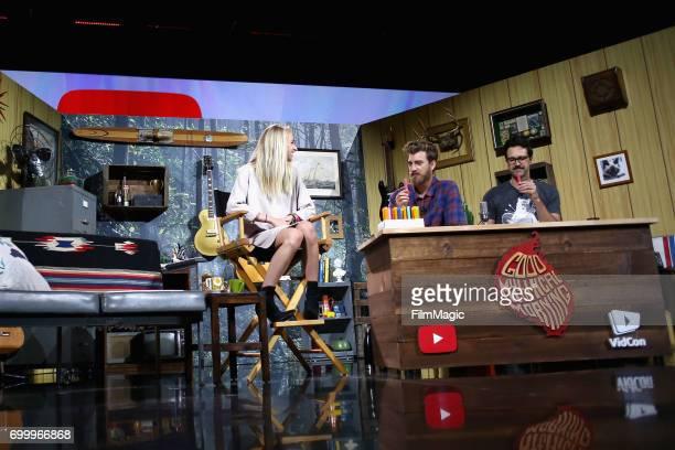 YouTube personality Jenn McAllister aka Jennxpenn comedians Rhett James McLaughlin and Charles Lincoln 'Link' Neal appear at the YouTube @ VidCon...