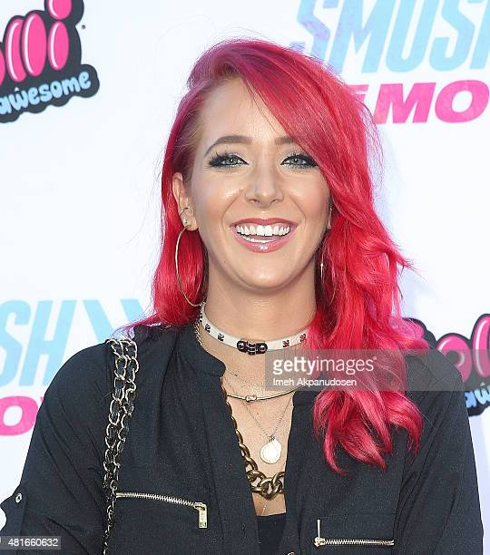 YouTube personality Jenna Marbles attends the premiere of AwesomenessTV and Defy Media's 'Smosh The Movie' at Westwood Village Theatre on July 22...