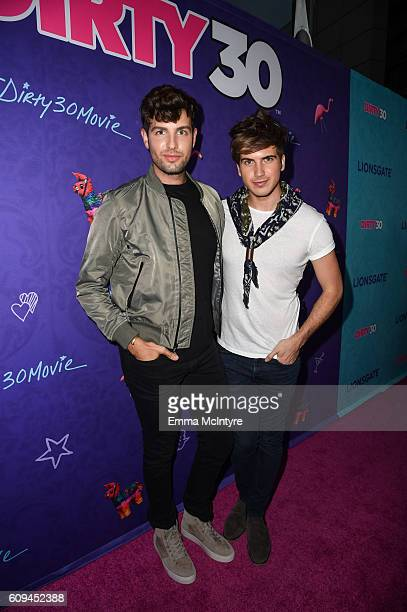 YouTube personality Joey Graceffa and Daniel Preda arrive at the premiere of Lionsgate's 'Dirty 30' at ArcLight Hollywood on September 20 2016 in...