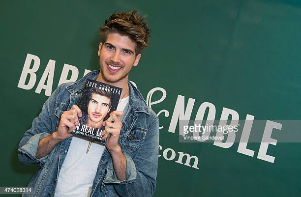 YouTube personality Joey Graceffa signs and discusses his memoir In Real Life at Barnes Noble bookstore at The Grove on May 19 2015 in Los Angeles...