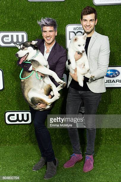 YouTube personality Joey Graceffa Wolf Storm and Daniel Preda arrive at the 2016 World Dog Awards at Barker Hangar on January 09 2016 in Santa Monica...
