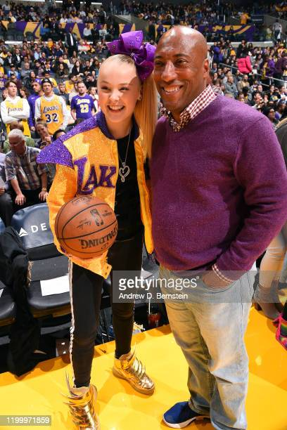 Youtube Personality JoJo Siwa and businessman Byron Allen attend the game between the Los Angeles Lakers and the Phoenix Suns on February 10, 2020 at...