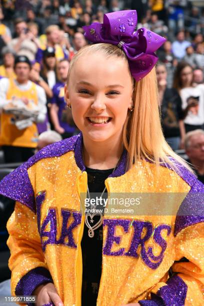 Youtube Personality JoJo Siwa attends the game between the Los Angeles Lakers and the Phoenix Suns on February 10, 2020 at STAPLES Center in Los...