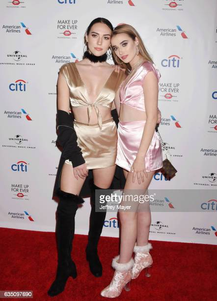 YouTube personality Sydney Carlson and singersongwriter Olivia O'Brien arrive at the Universal Music Group's 2017 GRAMMY After Party at The Theatre...