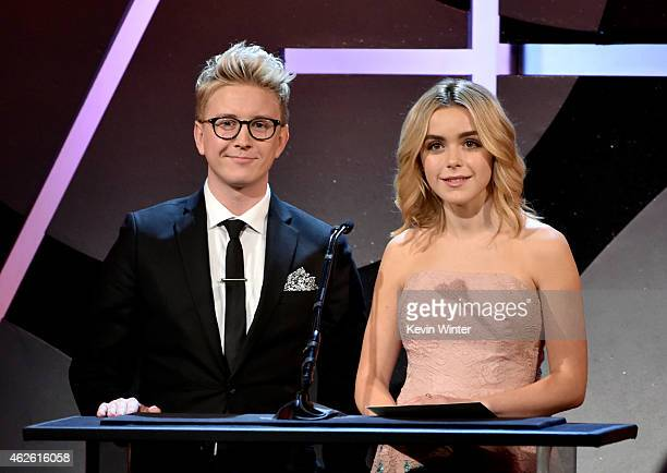 YouTube personality Tyler Oakley and actress Kiernan Shipka speak onstage at the 19th Annual Art Directors Guild Excellence In Production Design...