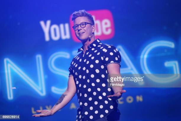 YouTube personality Tyler Oakley appears at #YouTubeOnstage at VidCon 2017 at Anaheim Convention Center on June 21, 2017 in Anaheim, California.