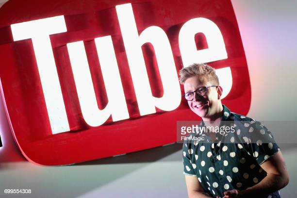 YouTube personality Tyler Oakley speaks onstage at YouTube @ VidCon Brand Lounge at Anaheim Convention Center on June 21 2017 in Anaheim California