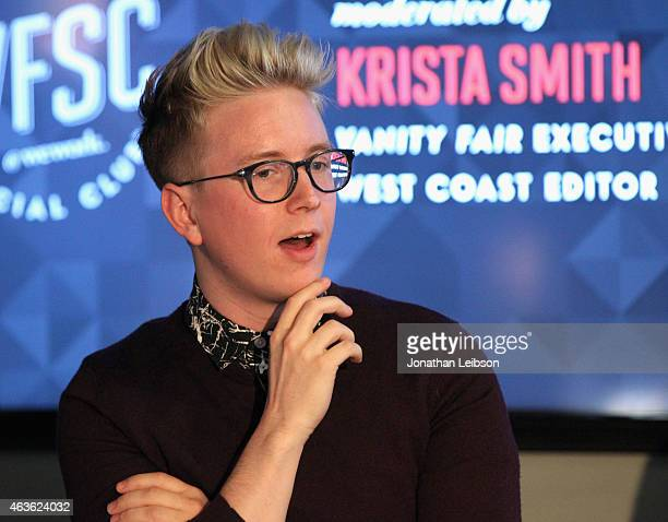 YouTube personality Tyler Oakley speaks onstage during Vanity Fair Campaign Hollywood Social Club 'YouTube All Stars' Social Media Influencers Panel...