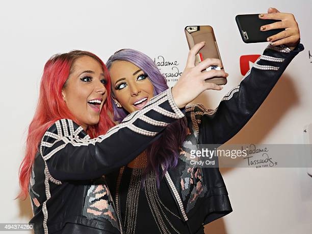 YouTube sensation Jenna Marbles poses with a neverbeforeseen selfie experience Madame Tussauds figure of herself during the unveiling at Madame...