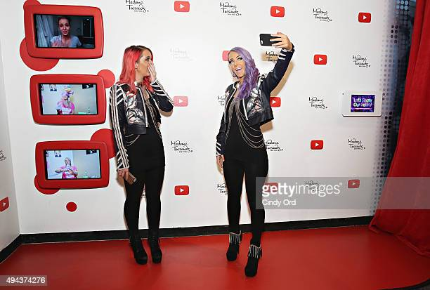 YouTube sensation Jenna Marbles reacts to seeing her 'selfie experience' Madame Tussauds figure during the unveiling at Madame Tussauds New York on...
