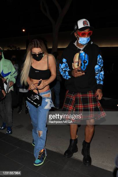 YouTube sensation Tana Mongeau wears an outrageous pair of jeans as she enjoys a night out at Boa on March 5, 2021 in Los Angeles, California.