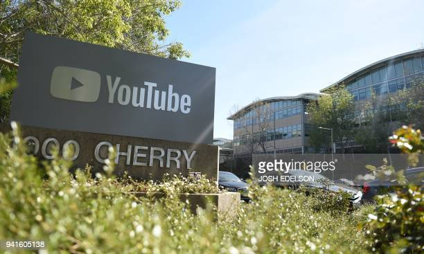 A YouTube sign is seen at YouTube's corporate headquarters during an active shooter situation in San Bruno California on April 03 2018 Gunshots...