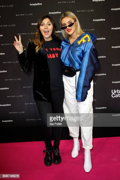 Youtube star Anna Maria Damm and her sinster German actress Katharina Damm during the Maybelline Show 'Urban Catwalk Faces of New York' at...