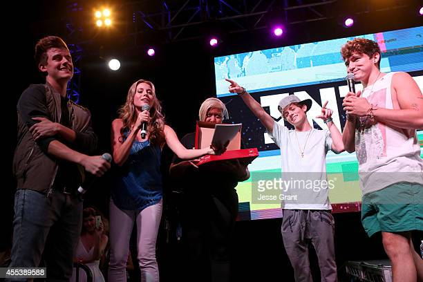 YouTube star Connor Franta host Andrea Feczko Vine star Dylan Dauzat and YouTube star Jc Caylen share the stage at Fullscreens INTOUR at Pasadena...