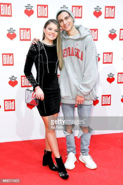 Youtube star Faye Montana and German singer Lukas Rieger attend the 'Ein Herz fuer Kinder Gala' at Studio Berlin Adlershof on December 9 2017 in...