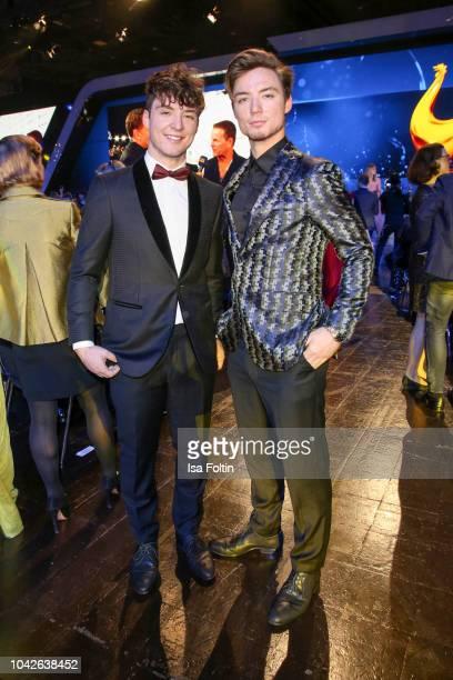 Youtube star Heiko Lochmann and his twin Romann Lochmann alias Die Lochis during the Goldene Henne on September 28, 2018 in Leipzig, Germany.
