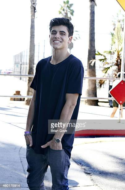 YouTube Star Jack Gilinsky visits the set for 'Wild For The Night/Hypnotize 3D' at Venice Skate Park on December 8 2014 in Venice California