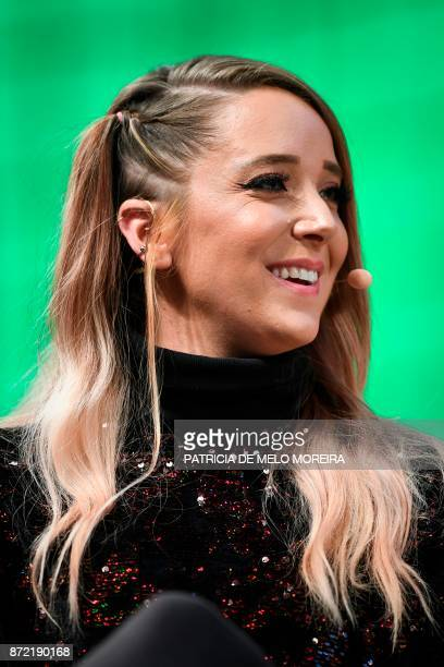 YouTube star Jenna Marbles gives an interview during the 2017 Web Summit in Lisbon on November 9 2017 Europe's largest tech event Web Summit is being...