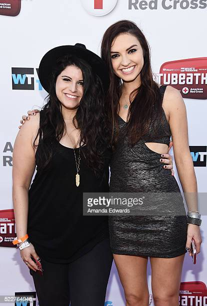 YouTube stars Bria Kam and Chrissy Chambers of BriaAndChrissy arrive at Tubeathon 2016 at the iHeartRadio Theater on April 20 2016 in Burbank...