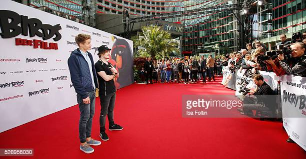 Youtube stars ConCrafter and iBlali attend the Berlin premiere of the film 'Angry Birds Der Film' at CineStar on May 1 2016 in Berlin Germany