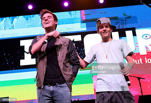 YouTube stars Connor Franta and Dylan Dauzat answer fan questions at Fullscreen's INTOUR at Pasadena Convention Center on September 13 2014 in...
