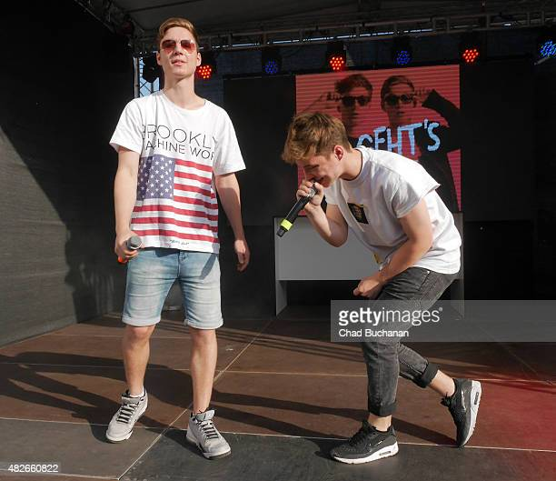 YouTube stars Heiko und Roman Lochmann of DieLochis perform at the Alexa am Alexanderplatz shopping center on August 1 2015 in Berlin Germany