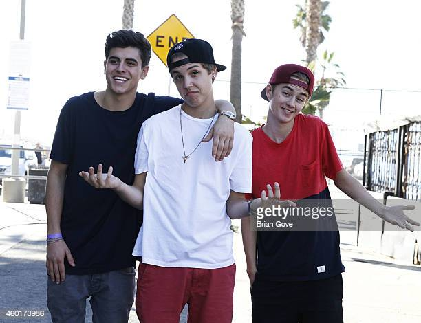 LR0 YouTube Stars Jack Gilinsky Matthew Espinosa and Jack Johnson visit the set for Wild For The Night/Hypnotize 3D at Venice Skate Park on December...