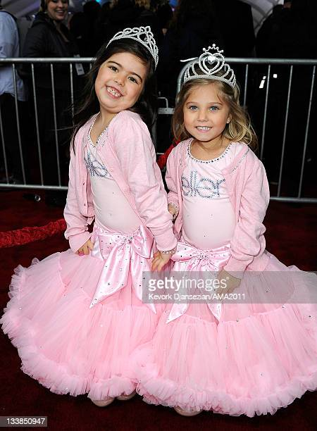YouTube stars Sophia Grace Brownlee and Rosie Brownlee arrives at the 2011 American Music Awards held at Nokia Theatre LA LIVE on November 20 2011 in...