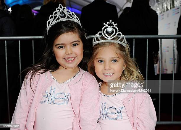 YouTube stars Sophia Grace Brownlee and Rosie Brownlie arrive at the 2011 American Music Awards held at Nokia Theatre LA LIVE on November 20 2011 in...