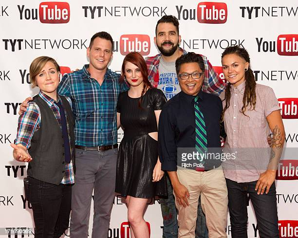 YouTube talent Hannah Hart, comedian Dave Rubin, actress Bree Essrig and YouTube talents Jonny McGovern, Alec Mapa and Whitney Mixter arrive at the...
