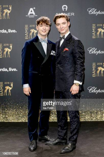 Youtube twins Heiko Lochmann and Roman Lochmann alias 'Die Lochis' attend the 70th Bambi Awards at Stage Theater on November 16, 2018 in Berlin,...
