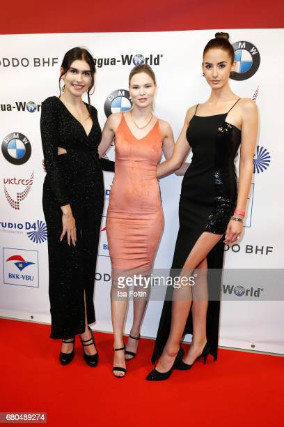 Youtuber Ana Lisa Kohler model and influencer Brenda Huebscher and guest attend the Victress Awards Gala on May 8 2017 in Berlin Germany