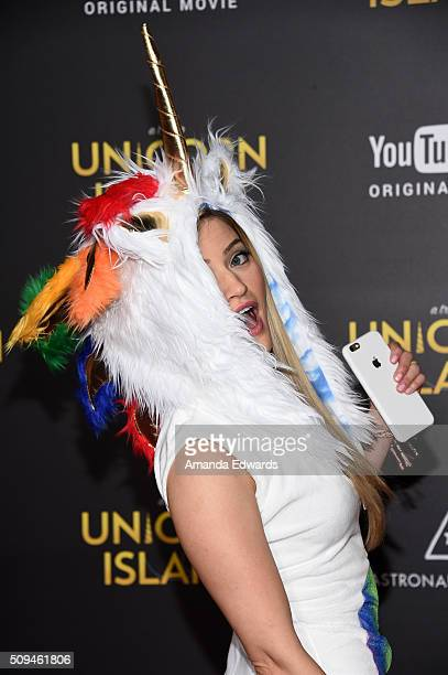 """YouTuber iJustine arrives at the premiere of """"A Trip To Unicorn Island"""" at TCL Chinese Theatre on February 10, 2016 in Hollywood, California."""