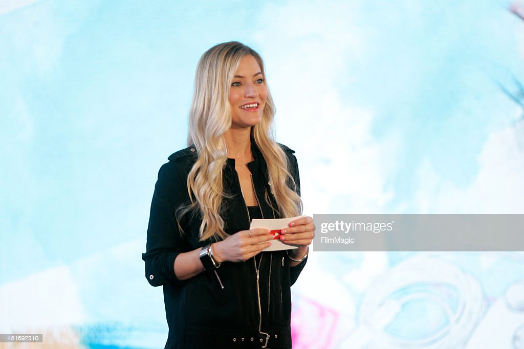 YouTuber iJustine delivers a keynote at #BrandsAtVidCon at Anaheim Convention Center on July 23, 2015 in Anaheim, California.