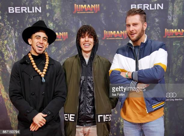 Youtuber Jay Samuelz and Arya Lee and german presenter Maurice Gajda attend the German premiere of 'Jumanji Willkommen im Dschungel' at Sony Centre...