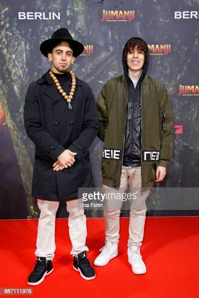 Youtuber Jay Samuelz and Arya Lee attend the German premiere of 'Jumanji Willkommen im Dschungel' at Sony Centre on December 6 2017 in Berlin Germany