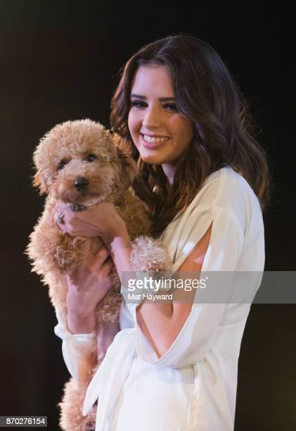 YouTuber Jess Conte of Jess Gabriel holds her dog Milo on stage during the 'Another Day Another Tour' tour at the Crocodile on November 4 2017 in...