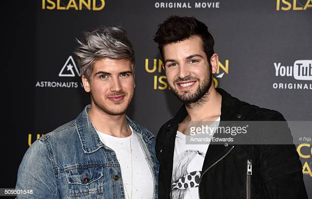 YouTuber Joey Graceffa and Daniel Preda arrive at the premiere of A Trip To Unicorn Island at TCL Chinese Theatre on February 10 2016 in Hollywood...