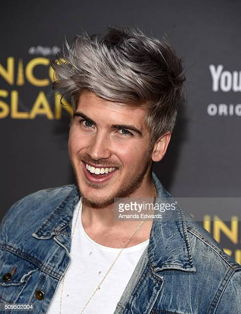 YouTuber Joey Graceffa arrives at the premiere of 'A Trip To Unicorn Island' at TCL Chinese Theatre on February 10 2016 in Hollywood California