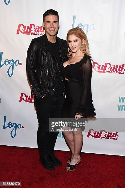 YouTuber Raymond Braun and actress Renee Olstead arrive at the premiere of Logo's 'RuPaul's Drag Race' Season 8 at The Mayan Theater on March 1 2016...