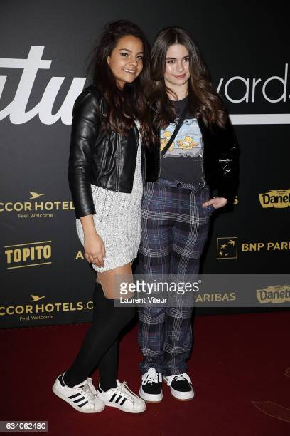 YouTuber Sindy and Actress Adele Castillon attends the '4th Melty Future Awards' at Le Grand Rex on February 6 2017 in Paris France