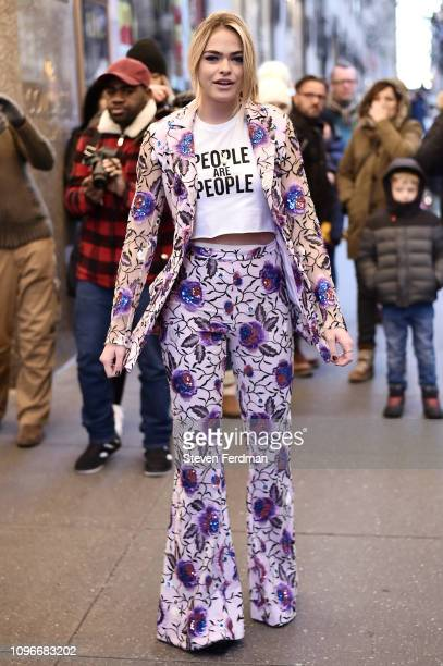 YouTuber Summer McKeen is seen wearing a floral blazer with matching bell bottoms outside the Christian Siriano show during New York Fashion Week...