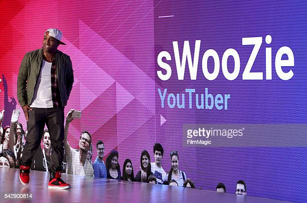 YouTuber sWooZie speaks onstage at the YouTube Lounge during VidCon at the Anaheim Convention Center on June 23 2016 in Anaheim California